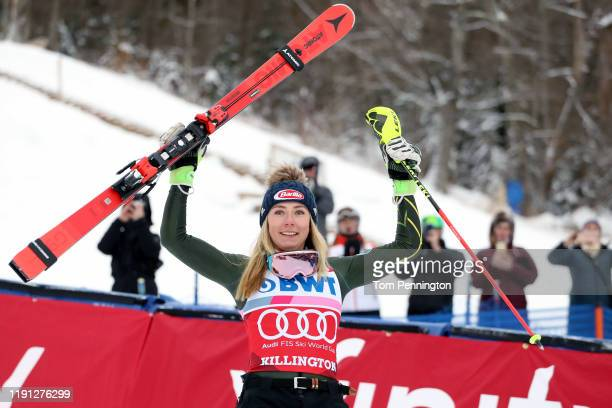 Mikaela Shiffrin of the United States celebrates on the podium after winning the Women's Slalom during the Audi FIS Ski World Cup - Killington Cup on...