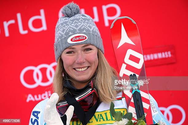 Mikaela Shiffrin of the United States celebrates on the podium after winning the slalom during the Audi FIS Women's Alpine Ski World Cup at the...