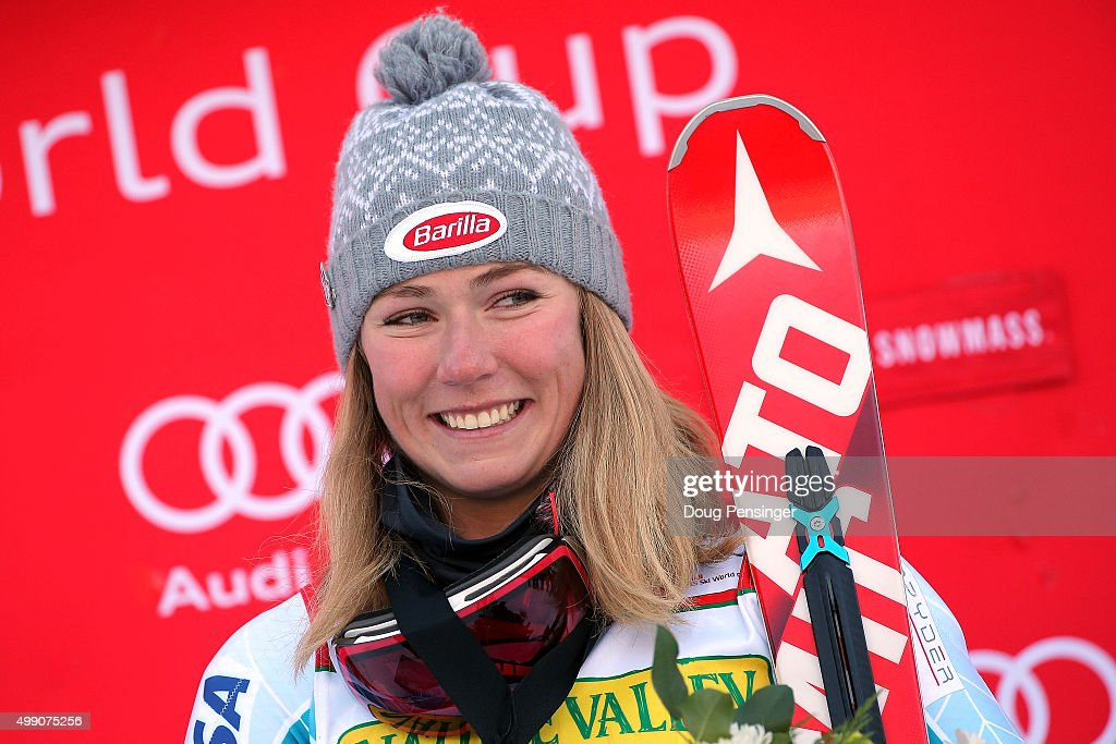 Mikaela Shiffrin of the United States celebrates on the podium after winning the slalom during the Audi FIS Women's Alpine Ski World Cup at the Nature Valley Aspen Winternational on November 28, 2015 in Aspen, Colorado.