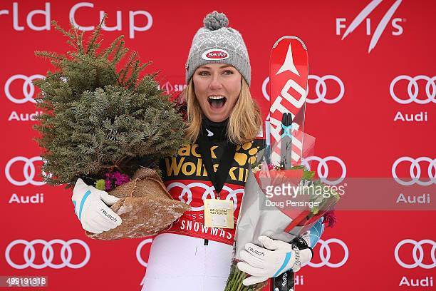 Mikaela Shiffrin of the United States celebrates on the podium after winning the slalom during the Adui FIS Women's Alpine Ski World Cup at the...