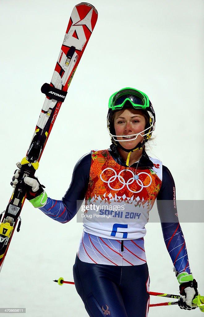 Mikaela Shiffrin of the United States celebrates winning ...