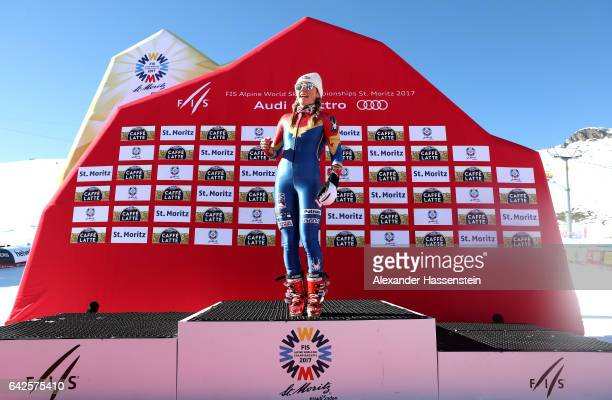 Mikaela Shiffrin of The United States celebrates winning the gold medal during the flower ceremony in the Women's Slalom during the FIS Alpine World...