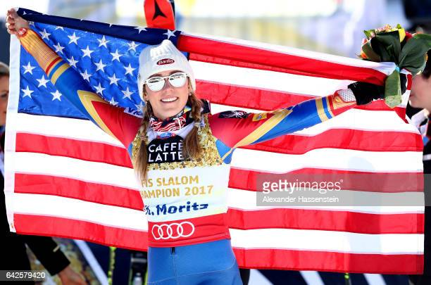Mikaela Shiffrin of The United States celebrates winning the gold medal after the flower ceremony for the Women's Slalom during the FIS Alpine World...