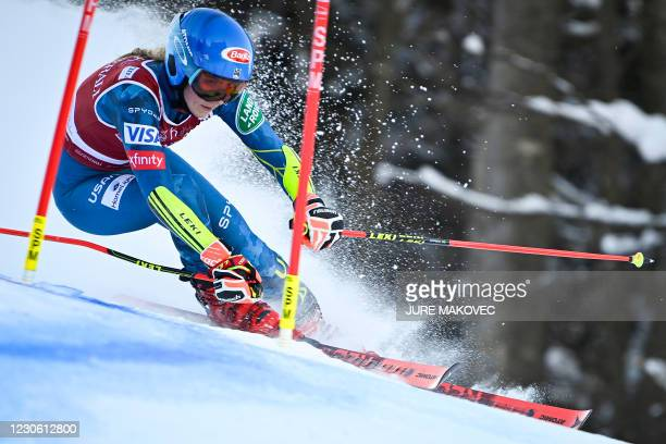 Mikaela Shiffrin of the United States competes during the Audi FIS Women Alpine Skiing World Cup Giant Slalom race in Kranjska Gora, on January 16,...