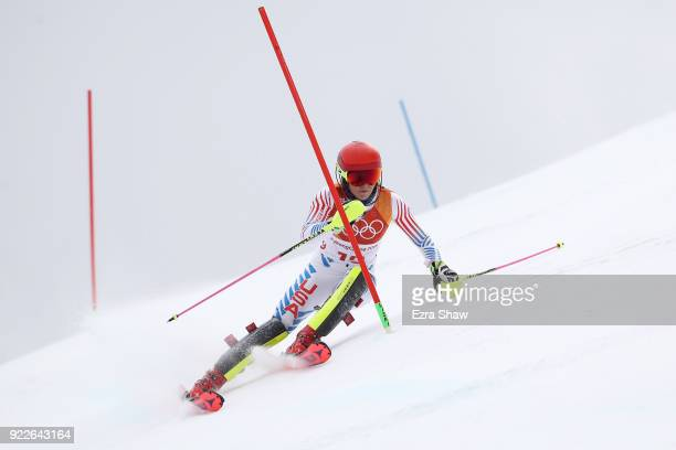 Mikaela Shiffrin of the United States competes during the Ladies' Alpine Combined on day thirteen of the PyeongChang 2018 Winter Olympic Games at...