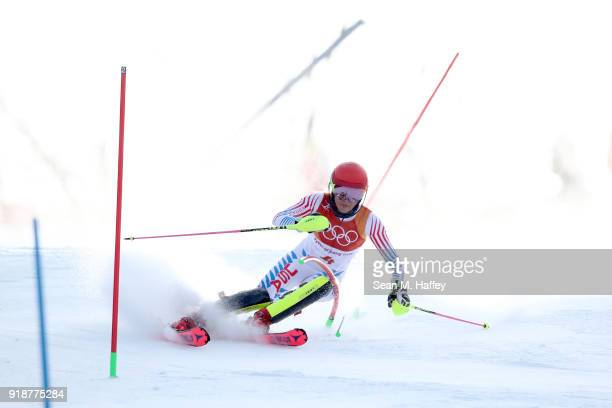 Mikaela Shiffrin of the United States competes during the Ladies' Slalom Alpine Skiing at Yongpyong Alpine Centre on February 16 2018 in...
