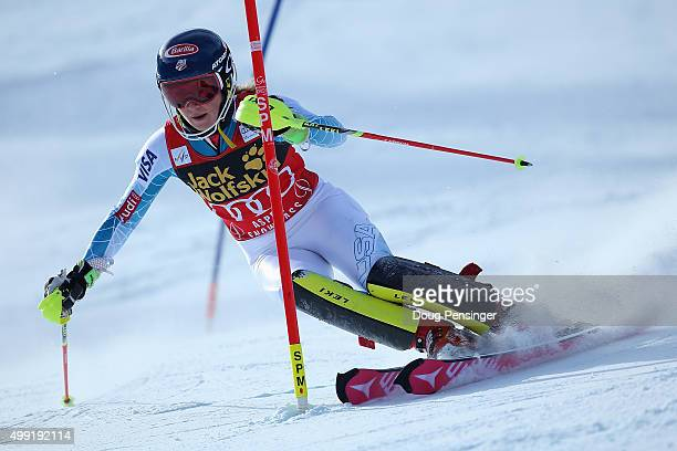 Mikaela Shiffrin of the United States competes in her first run as she skis to victory in slalom during the Adui FIS Women's Alpine Ski World Cup at...