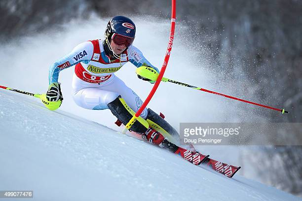 Mikaela Shiffrin of the United States competes in the first run as she goes on to win the slalom during the Audi FIS Women's Alpine Ski World Cup at...