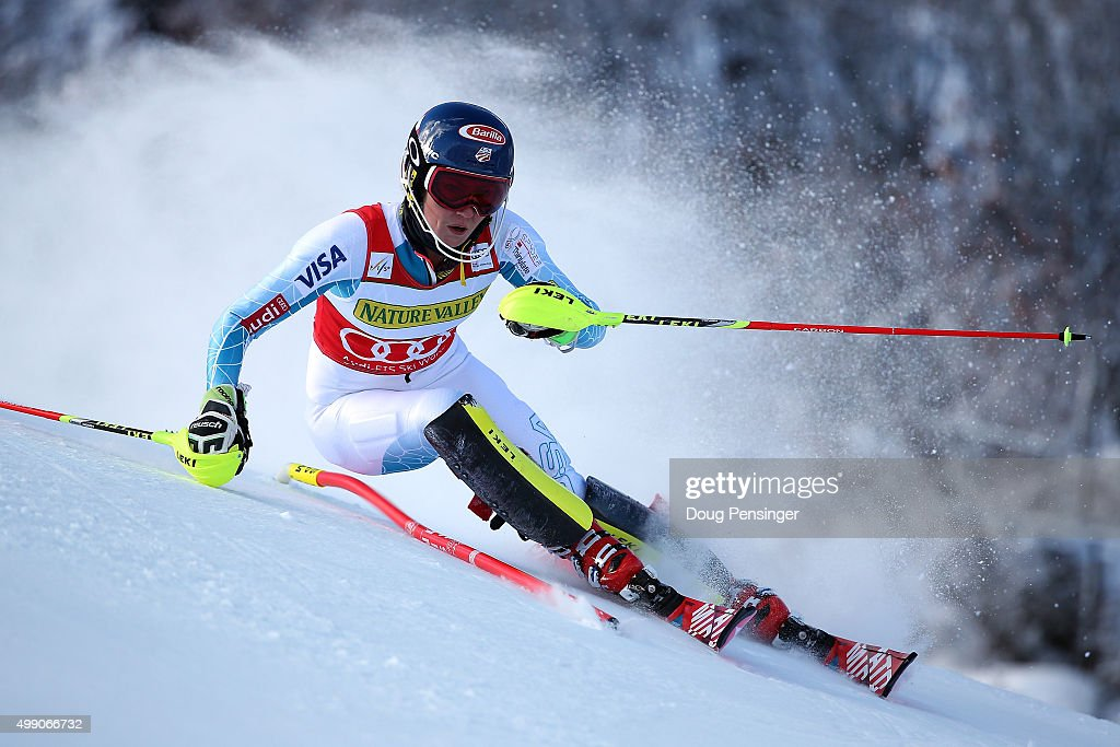 Mikaela Shiffrin of the United States competes in the first run of the slalom during the Audi FIS Women's Alpine Ski World Cup at the Nature Valley Aspen Winternational on November 28, 2015 in Aspen, Colorado.