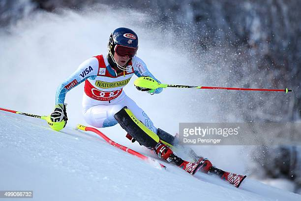 Mikaela Shiffrin of the United States competes in the first run of the slalom during the Audi FIS Women's Alpine Ski World Cup at the Nature Valley...