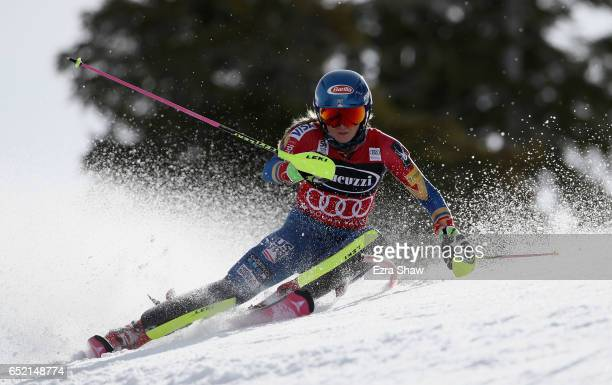 Mikaela Shiffrin of the United States competes in the first run of the Audi FIS World Cup Ladies' Slalom on March 11 2017 in Squaw Valley California...