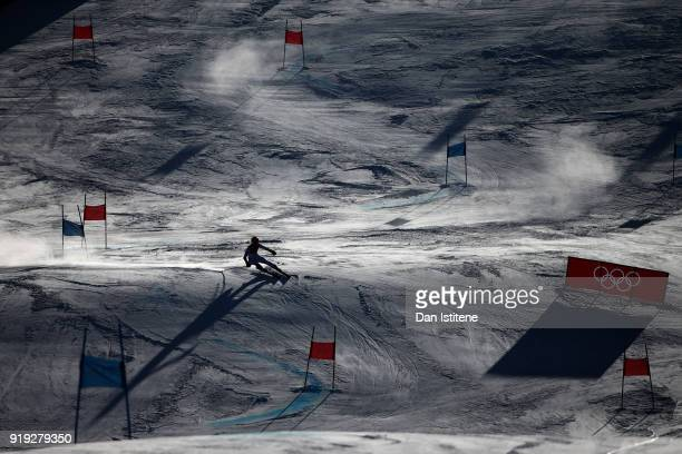 Mikaela Shiffrin of the United States competes in the Ladies' Giant Slalom on day six of the PyeongChang 2018 Winter Olympic Games at Yongpyong...