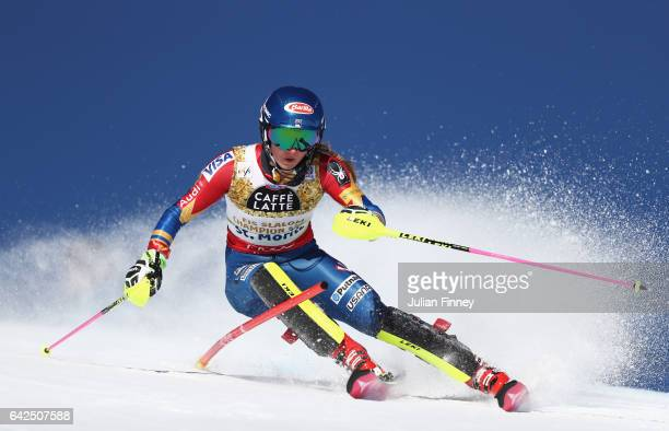 Mikaela Shiffrin of the United States competes in the Women's Slalom during the FIS Alpine World Ski Championships on February 18 2017 in St Moritz...