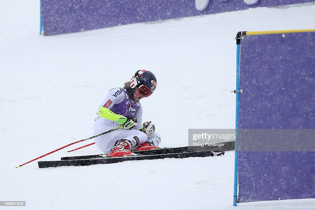 Mikaela Shiffrin of the United States falls near the finish line and does not finish her second run of the giant slalom during the Audi FIS Women's Alpine Ski World Cup at the Nature Valley Aspen Winternational on November 27, 2015 in Aspen, Colorado.