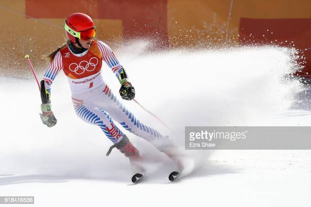 Mikaela Shiffrin of the United States finishes on the way to winning the gold medal during the Ladies' Giant Slalom on day six of the PyeongChang...