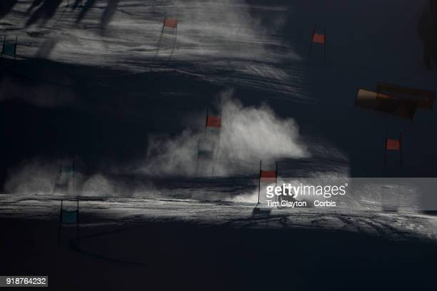 Mikaela Shiffrin of the United States in a action on the first run during the Alpine Skiing Ladies' Giant Slalom competition at Yongpyong Alpine...