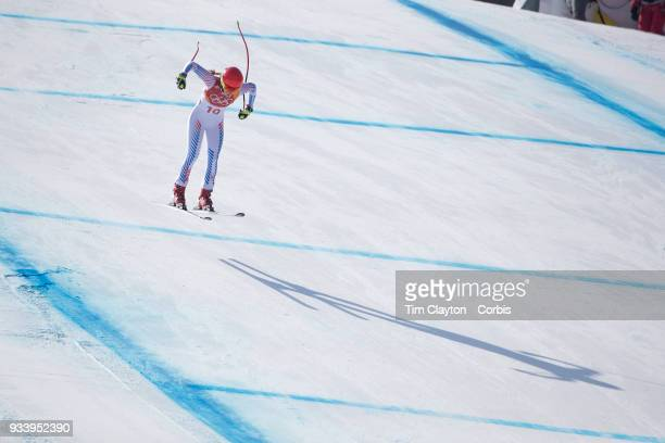 Mikaela Shiffrin of the United States in action during the Alpine Skiing Ladies' Alpine Combined Downhill at Jeongseon Alpine Centre on February 22...