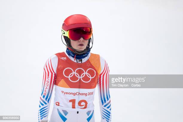 Mikaela Shiffrin of the United States in action during the Alpine Skiing Ladies' Alpine Combined Slalom at Jeongseon Alpine Centre on February 22...