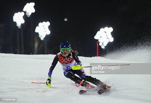 Mikaela Shiffrin of the United States in action during the Women's Slalom during day 14 of the Sochi 2014 Winter Olympics at Rosa Khutor Alpine...