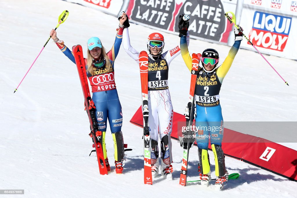 Mikaela Shiffrin of the United States in second place, Petra Vlhova of Slovakia in first place, and Frida Hansdotter of Sweden stand on the podium for the Ladies' Slalom during the 2017 Audi FIS Ski World Cup Finals at Aspen Mountain on March 18, 2017 in Aspen, Colorado.