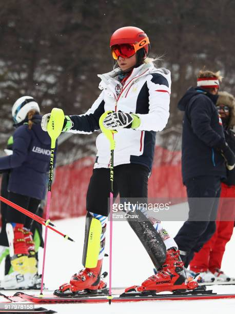 Mikaela Shiffrin of the United States inspects the course prior to the Alpine Skiing Ladies' Slalom on day five of the PyeongChang 2018 Winter...