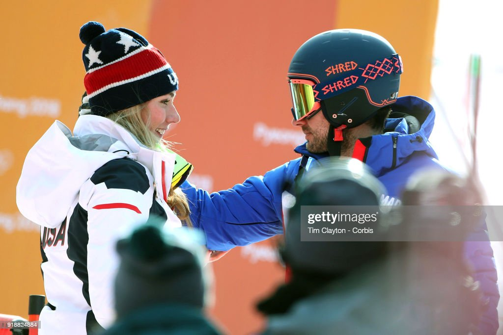 Mikaela Shiffrin #7 of the United States is congratulated by boyfriend and French World Cup skier Mathieu Faivre after winning the gold medal in the Alpine Skiing - Ladies' Giant Slalom competition at Yongpyong Alpine Centre on February 15, 2018 in PyeongChang, South Korea.