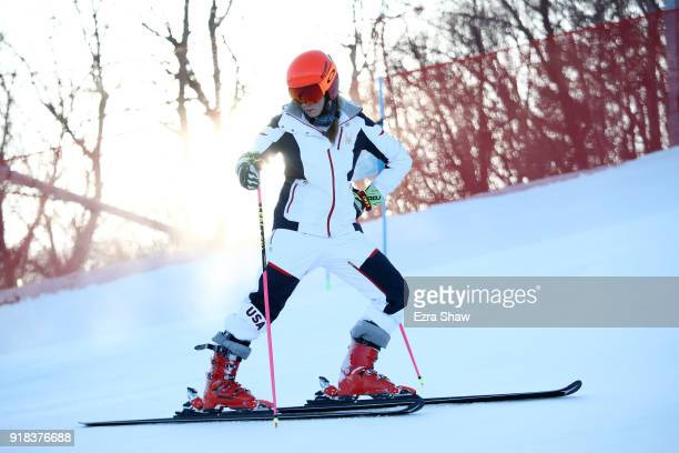 Mikaela Shiffrin of the United States looks on during inspection after running in the Ladies' Giant Slalom on day six of the PyeongChang 2018 Winter...