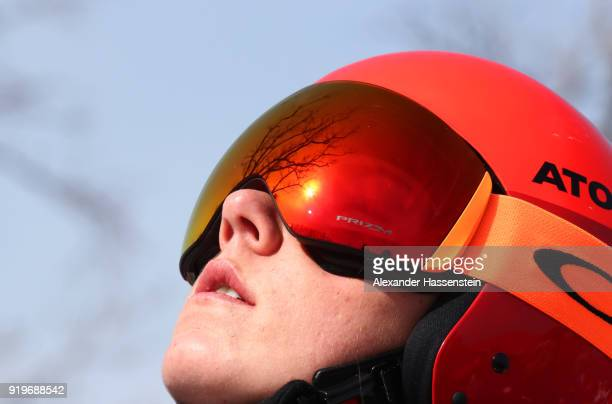 Mikaela Shiffrin of the United States looks on during the Alpine Skiing Women's Downhill training on day nine of the PyeongChang 2018 Winter Olympic...