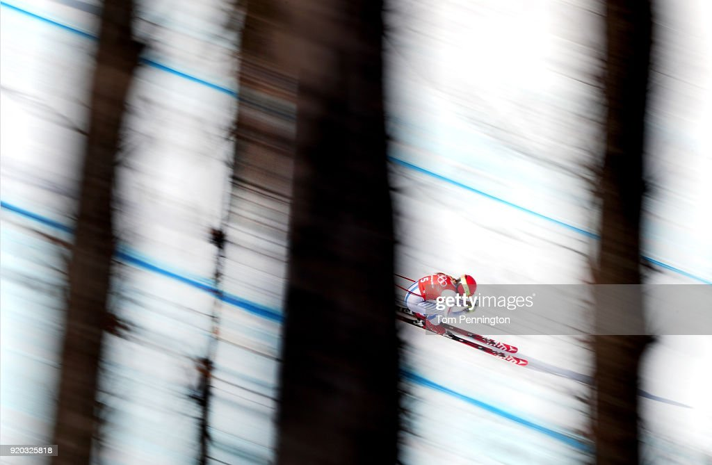 Mikaela Shiffrin of the United States makes a run during Alpine Skiing Ladies' Downhill Training on day 10 of the PyeongChang 2018 Winter Olympic Games at Jeongseon Alpine Centre on February 19, 2018 in Pyeongchang-gun, South Korea.