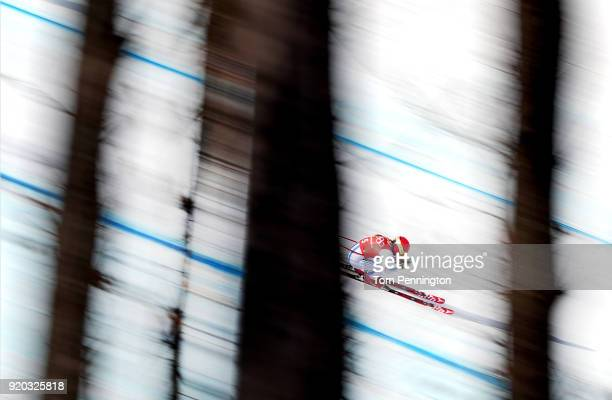 Mikaela Shiffrin of the United States makes a run during Alpine Skiing Ladies' Downhill Training on day 10 of the PyeongChang 2018 Winter Olympic...