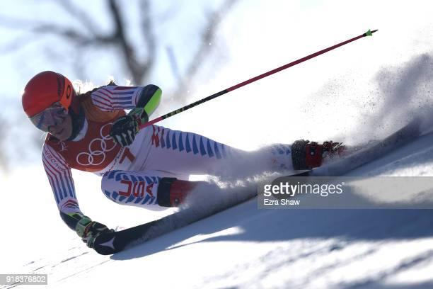 Mikaela Shiffrin of the United States makes a run during the Ladies' Giant Slalom on day six of the PyeongChang 2018 Winter Olympic Games at...