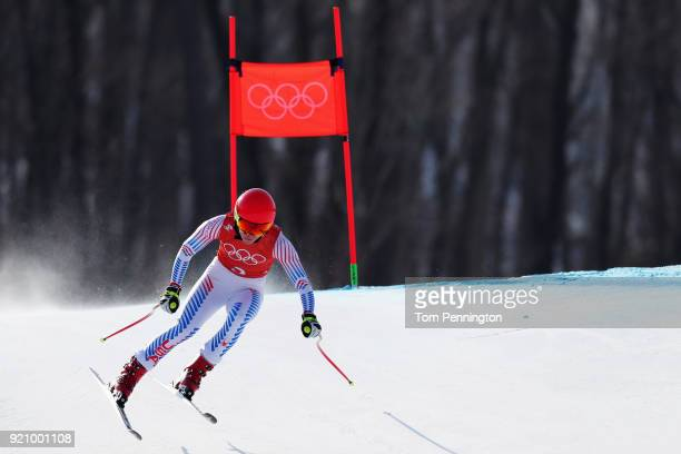 Mikaela Shiffrin of the United States makes a run during the Ladies' Downhill Alpine Skiing training on day eleven of the PyeongChang 2018 Winter...