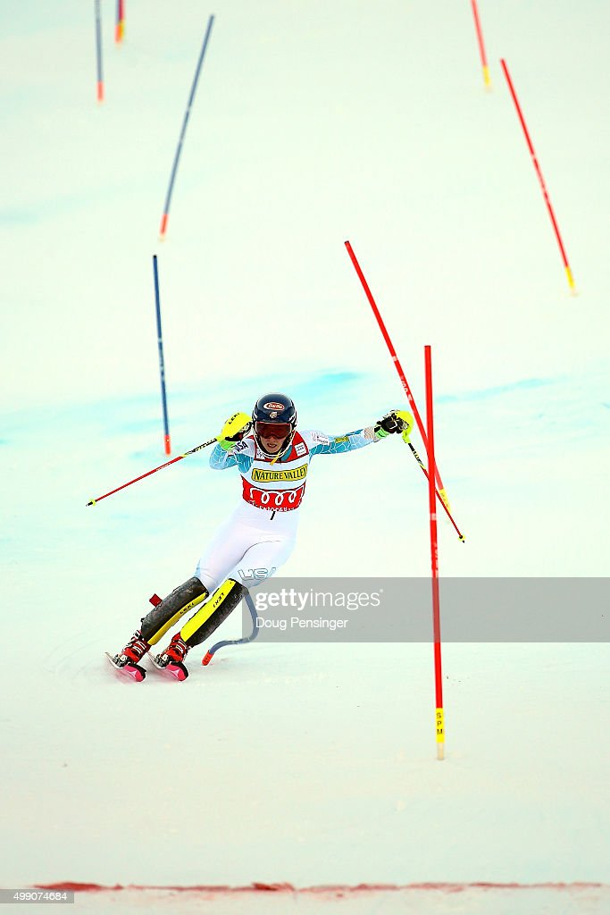 Mikaela Shiffrin of the United States navigates the final gates to the finish on her second run to win the slalom during the Audi FIS Women's Alpine Ski World Cup at the Nature Valley Aspen Winternational on November 28, 2015 in Aspen, Colorado.