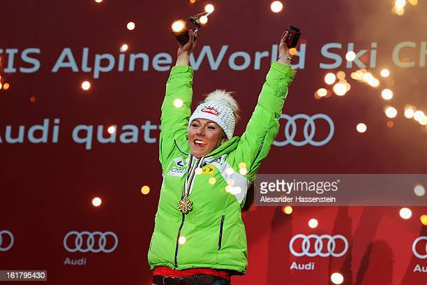 Mikaela Shiffrin of the United States of America celebrates at the medal ceremony with her gold medal after winning the Women's Slalom during the...
