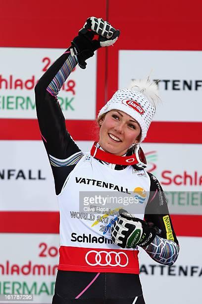 Mikaela Shiffrin of the United States of America celebrates winning the Women's Slalom during the Alpine FIS Ski World Championships on February 16...