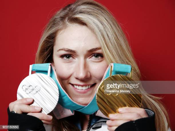 Mikaela Shiffrin of the United States poses for a portrait with her two medals Gold in Giant Slalom and Silver in Alpine Combined on the Today Show...