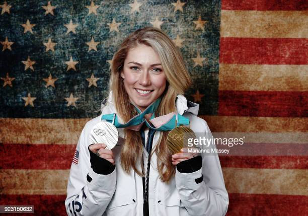 Mikaela Shiffrin of the United States poses for a portrait with her two medals, Gold in Giant Slalom and Silver in Alpine Combined on the Today Show...