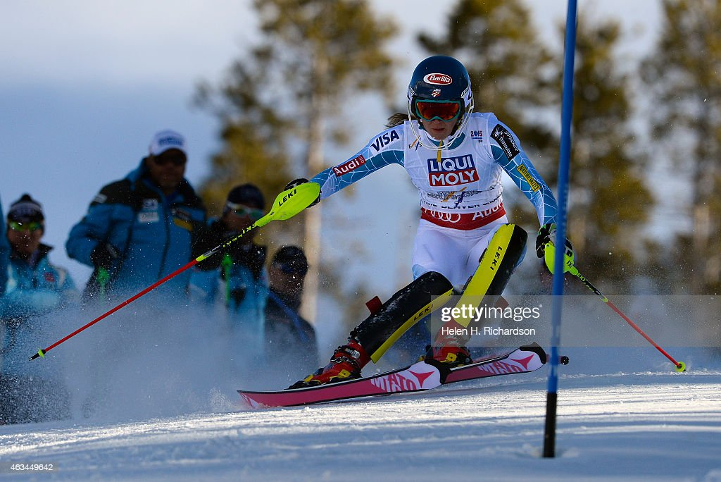 Mikaela Shiffrin of the United States races in the second run of the Ladies slalom at the FIS Alpine World Ski Championships in Beaver Creek, CO. February 14, 2015. Shiffrin came in first and took home the gold medal.