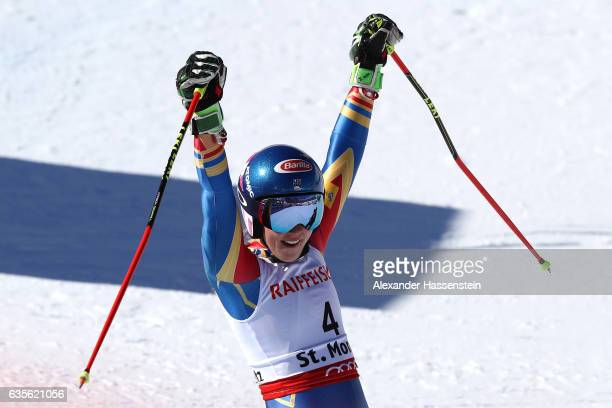 Mikaela Shiffrin of the United States reacts as she competes in the Women's Giant Slalom during the FIS Alpine World Ski Championships on February 16...