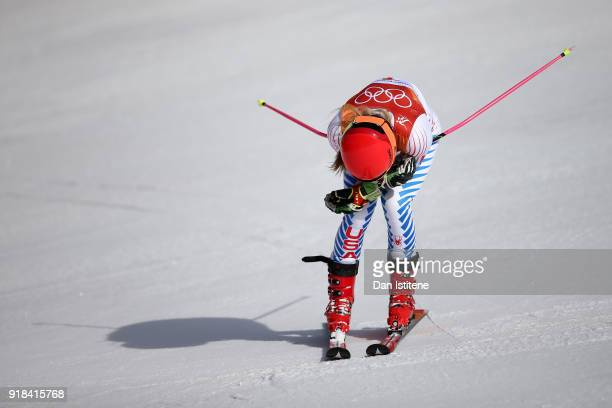 Mikaela Shiffrin of the United States reacts at the finish during the Ladies' Giant Slalom on day six of the PyeongChang 2018 Winter Olympic Games at...