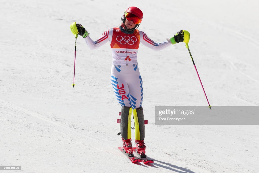 Mikaela Shiffrin of the United States reacts at the finish during the Ladies' Slalom Alpine Skiing at Yongpyong Alpine Centre on February 16, 2018 in Pyeongchang-gun, South Korea.