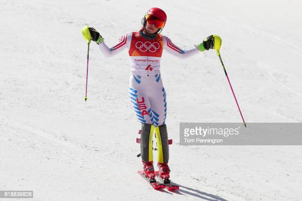 Mikaela Shiffrin of the United States reacts at the finish during the Ladies' Slalom Alpine Skiing at Yongpyong Alpine Centre on February 16 2018 in...
