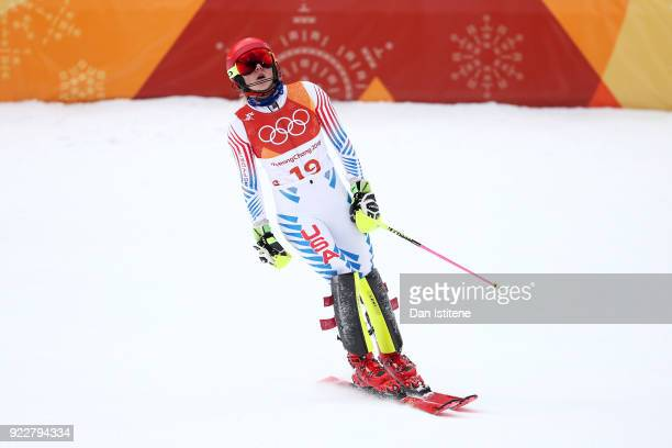 Mikaela Shiffrin of the United States reacts at the finish during the Ladies' Alpine Combined on day thirteen of the PyeongChang 2018 Winter Olympic...