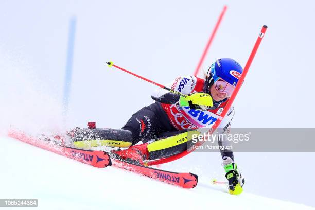 Mikaela Shiffrin of the United States skis the first run of the Women's Slalom during the Audi FIS Ski World Cup Killington Cup on November 25 2018...