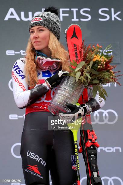 Mikaela Shiffrin of the United States stands on the podium during the National Anthem after winning the Women's Slalom during the Audi FIS Ski World...