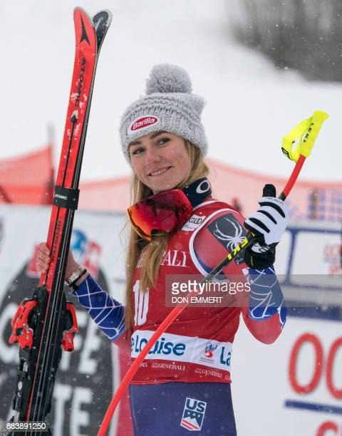 Mikaela Shiffrin of the US celebrates her third place finish during the FIS Ski World Cup Women's Downhill on December 1 2017 in Lake Louise Alberta...