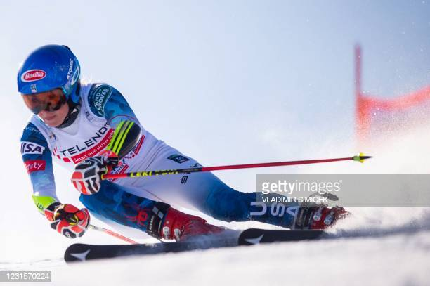 Mikaela Shiffrin of the US competes during the first run of the women's Giant Slalom event at the FIS Alpine Ski World Cup in Jasna, Slovakia on...