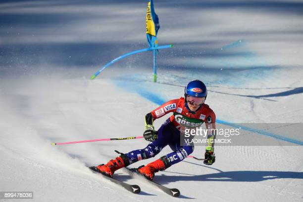 Mikaela Shiffrin of the US competes during the Ladies' Giant Slalom event of the FIS Ski World Cup in Lienz Austria on December 29 2017 / AFP PHOTO /...