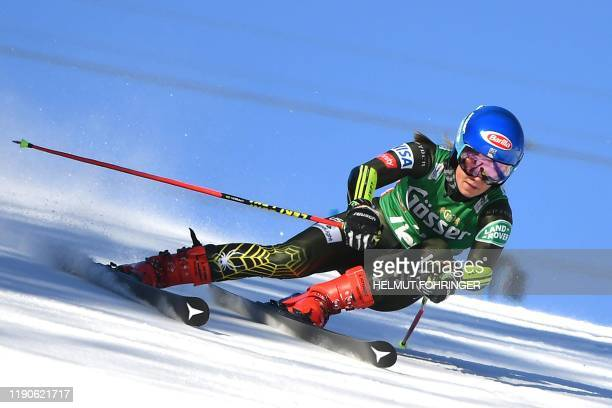 TOPSHOT Mikaela Shiffrin of the US competes in the first run of the women's Giant Slalom event of the Alpine Skiing World Cup in Lienz Austria on...