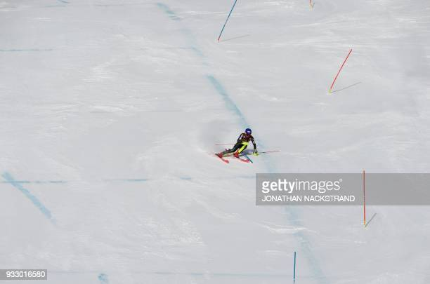 Mikaela Shiffrin of the US competes to win the Women's Slalom event of the Alpine Skiing World Cup in Aare Sweden and to win also the overall World...